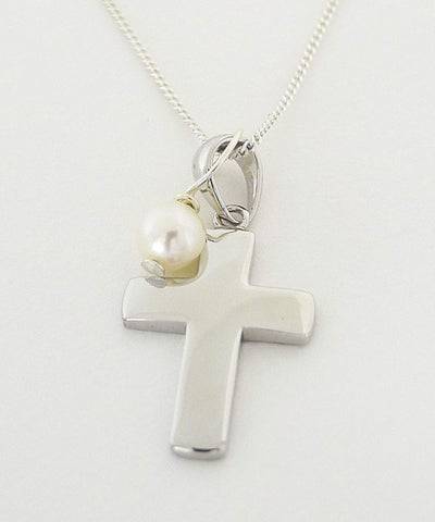 Sterling Silver Cross & Pearl Necklace