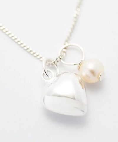 Sterling Silver Heart & Pearl Necklace