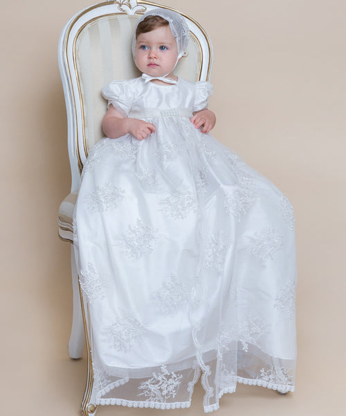 Lace & Organza Pearl Belt Christening Gown Set