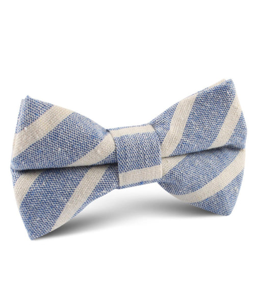 Blue Linen Chalk Stripe Bow Tie