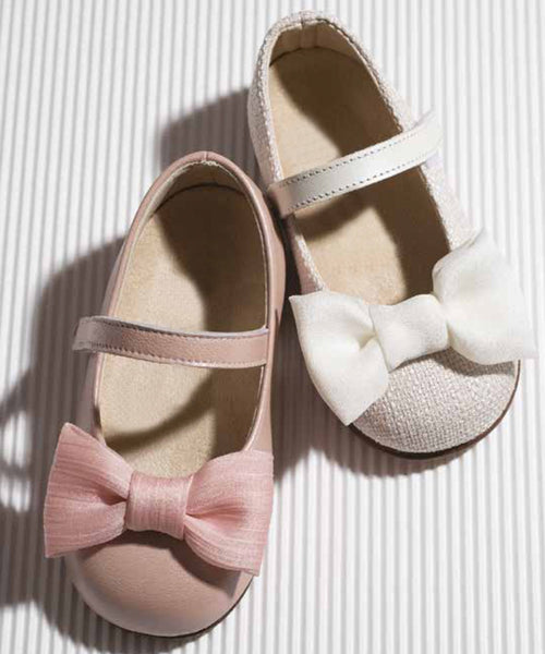 Bow Baby & Toddler Shoes - Blush / Tweed