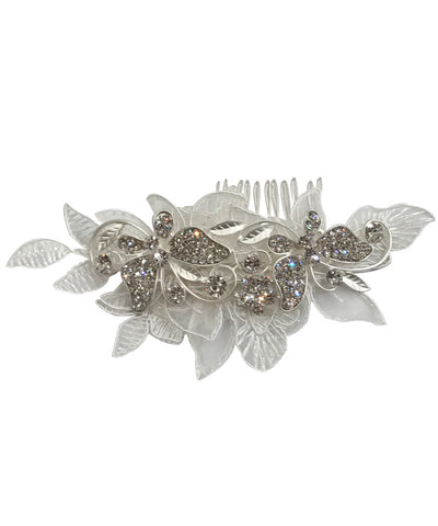 Large Crystal Petal Flower Comb