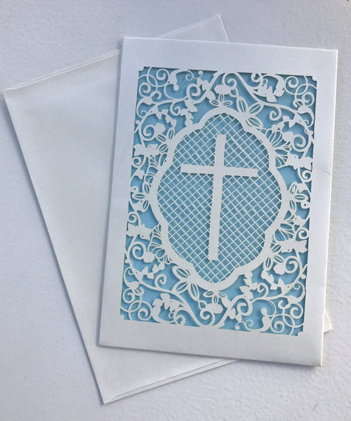 Laser Cut Cross Card/Invitation - Various Colours