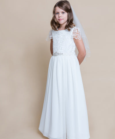 French Lace Cap Sleeve Chiffon Gown