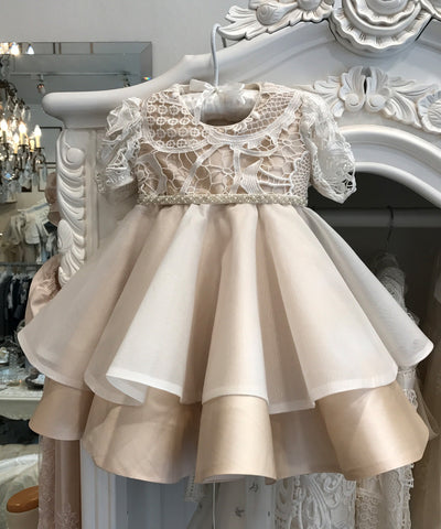 Guipure Champagne Silk & Organza Dress
