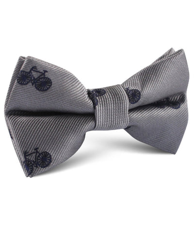 Navy French Bicycle Grey Bow Tie