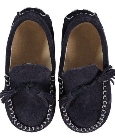 Navy Suede Tassel Luxury European Leather Moccasins