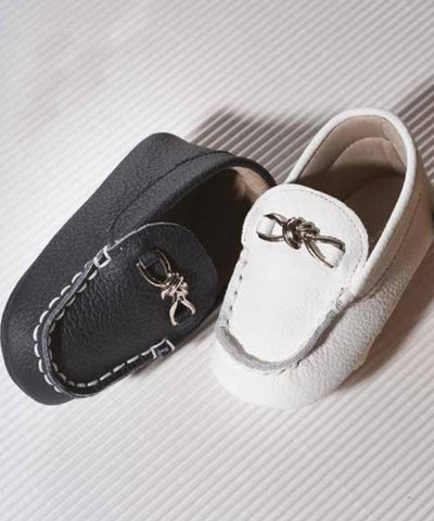 Navy & White Baby Luxury European Leather Moccasins