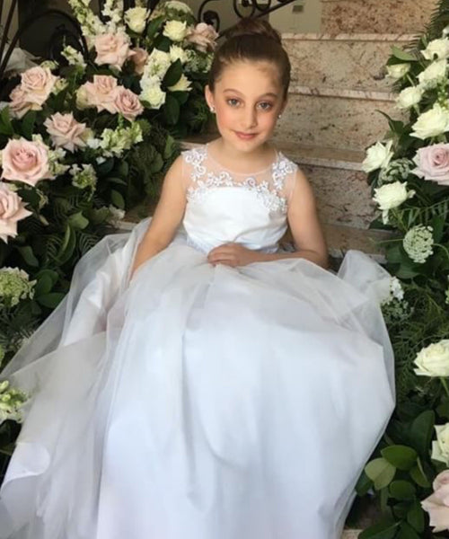 Sheer Applique Lace Flowergirl Dress