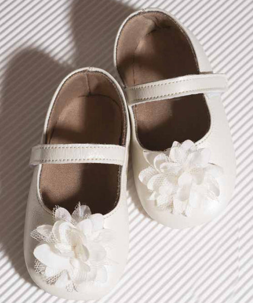 Soft Leather Floral Detail Baby Shoes