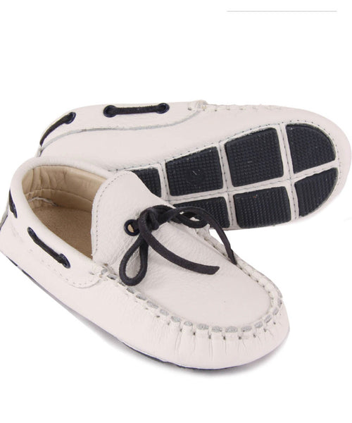 Navy Tie White Luxury European Leather Moccasins