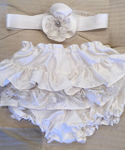 Sheer Silver Lace Christening Gown Accessories