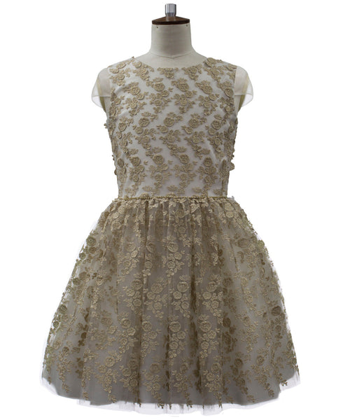 David Charles Evangeline Textured Gold Dress