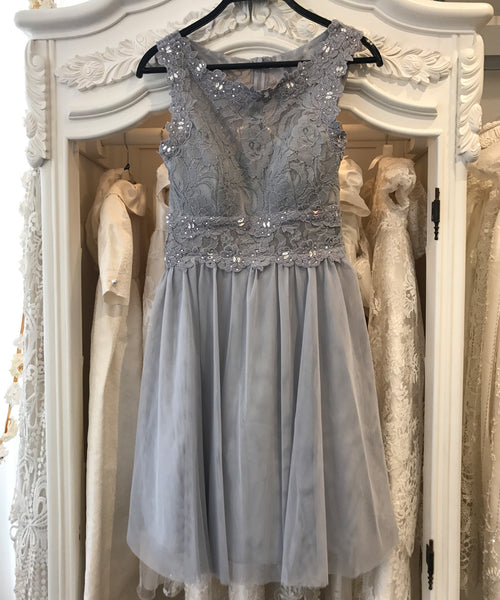 Silver Beaded Lace Dress