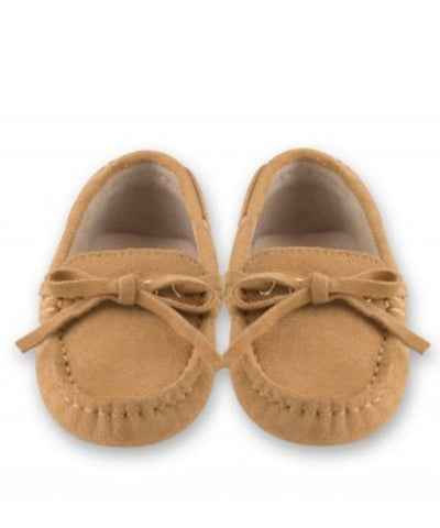 Oscar's For Kids Beige Tie Suede Loafers