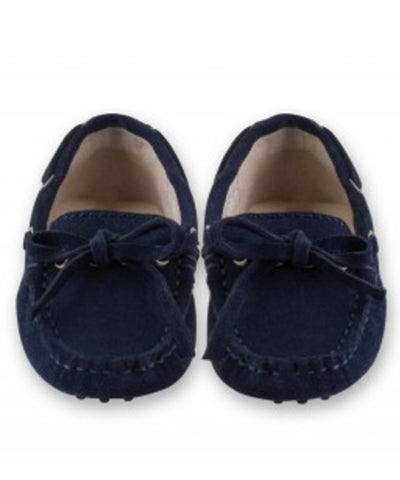 Oscar's For Kids Navy Tie Suede Loafers