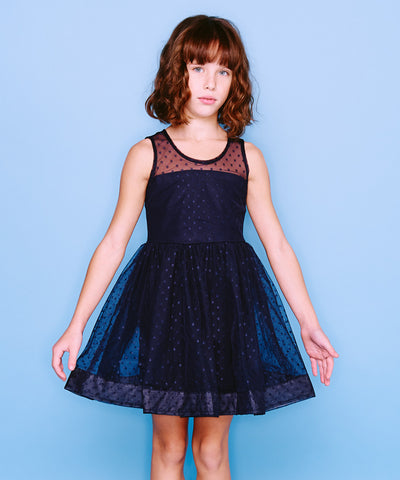 MONNALISA NAVY SPOT TULLE DRESS