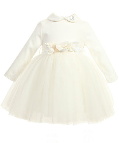 Monnalisa Floral Belt Tulle Baby Dress