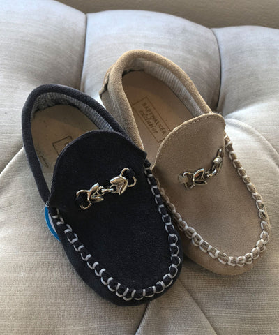 Suede Luxury European Leather Moccasins - Navy or Beige