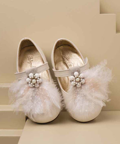 Feather Detail Leather Occasion Shoes