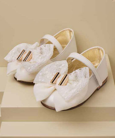 Lace Bow Leather Shoes