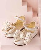 Gold Dot Bow Leather Shoes