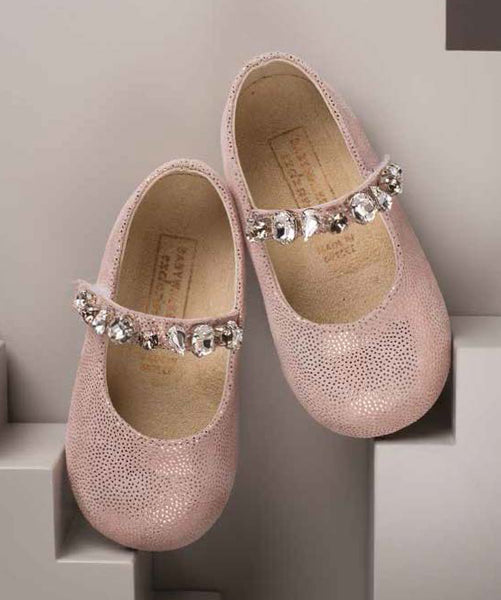 Crystal Detail Pink Leather Shoes