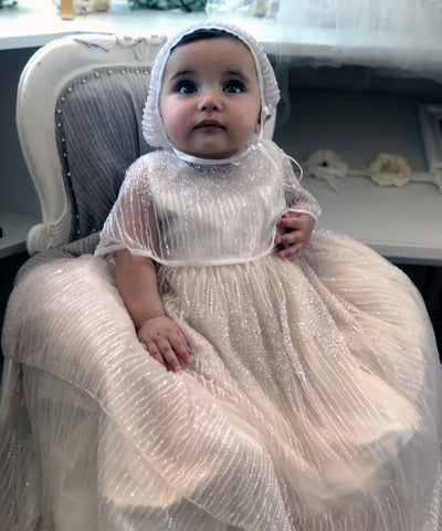 Sparkling Blush Baby Capelet Gown Set