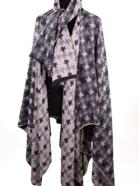 Brushed Silk Houndstooth Cape with Scarf