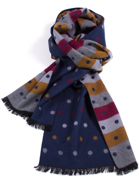 Brushed Silk Scarf in Reversible Dots