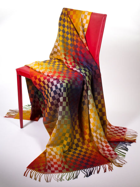 Basket Weave of Colors  Wool Throw