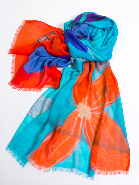 Colorful Hand Painted Modal Scarf
