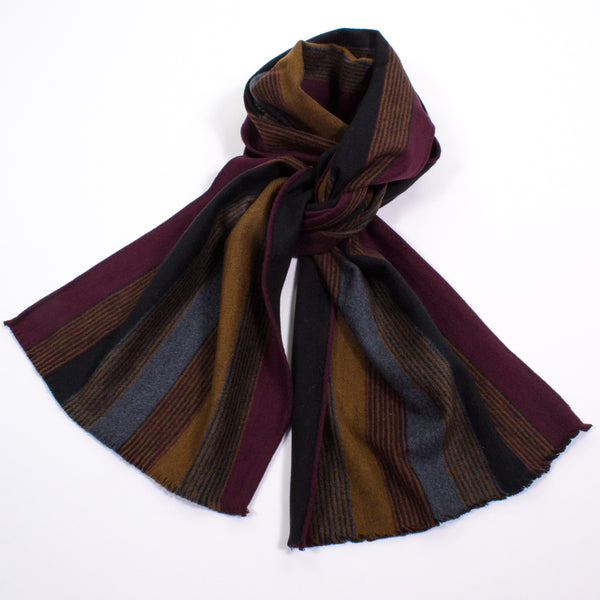 Brushed Silk Reversible Stripe  Scarf