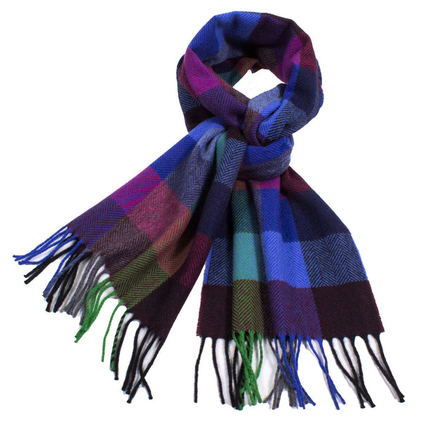 Colorful Plaid Cashmere Scarf with Fringe
