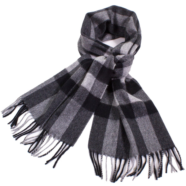 Updated Classic Plaid Cashmere Scarf with Fringe
