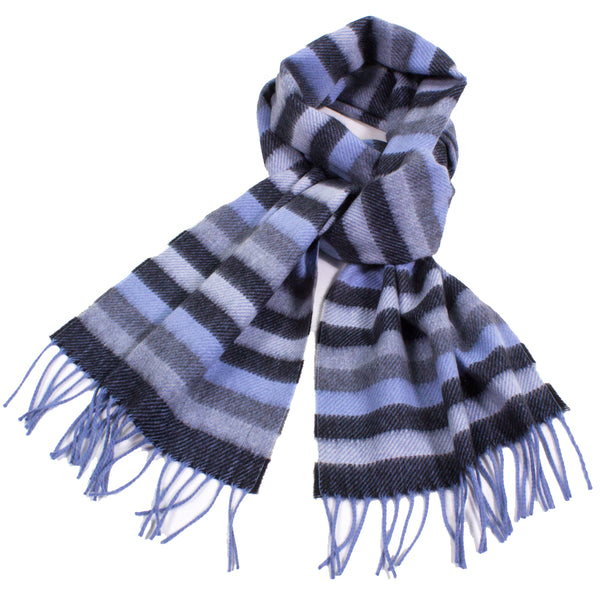 Soft Striped Cashmere Scarf with Fringe
