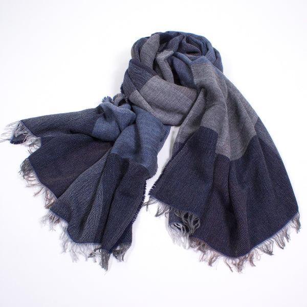 Color Block Lightweight Wool Scarf