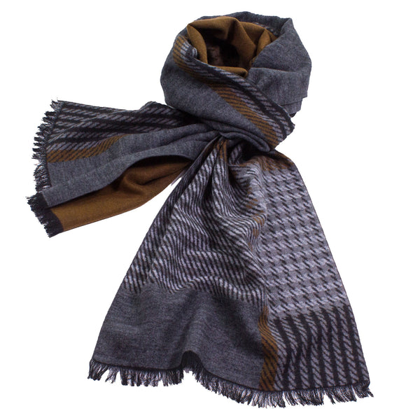Brushed Silk Reversible Plaid Scarf