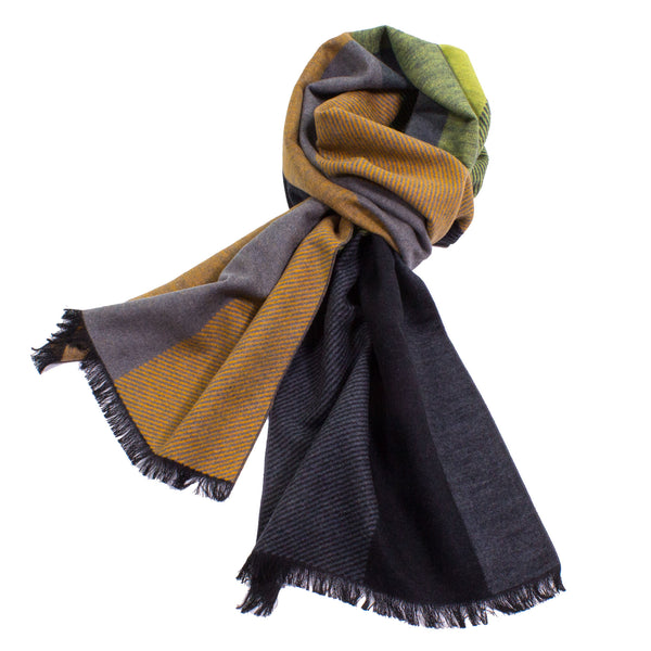 Happy Color Block Brushed Silk Scarf