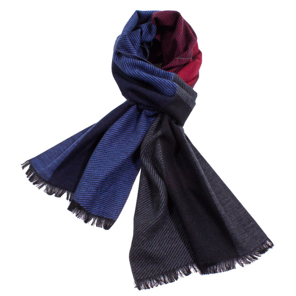Color Block Brushed Silk Scarf