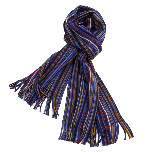 Pencil Stripe Wool Knit Scarf with Fringe