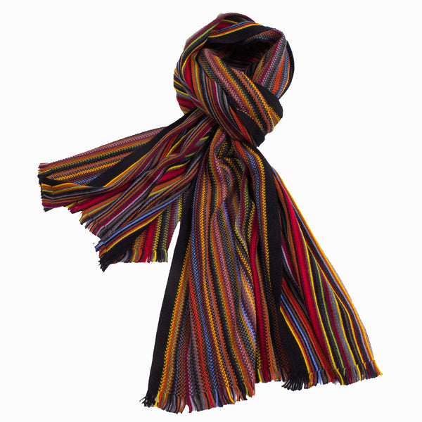 Colorful Over-Sized Knitted Wool Scarf With Reversible Stripes