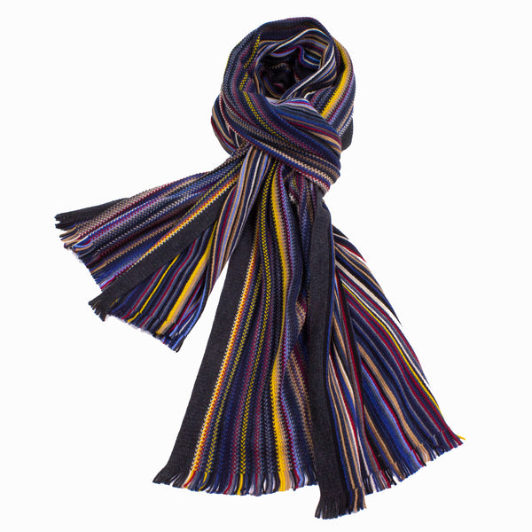 Over-Sized Knitted Wool Scarf With Reversible Stripes