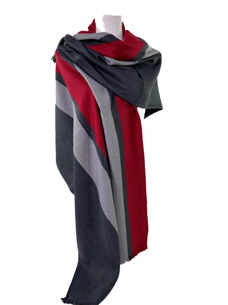 Red Hot Racer Stripe Brushed Silk Wrap