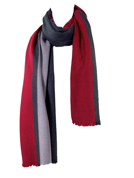 Red Racer Stripe Brushed Silk Oversized Scarf/Wrap