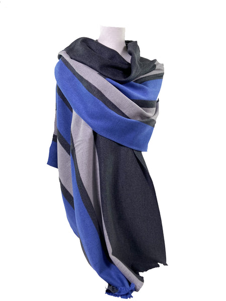 Blue Racer Stripe Brushed Silk Wrap