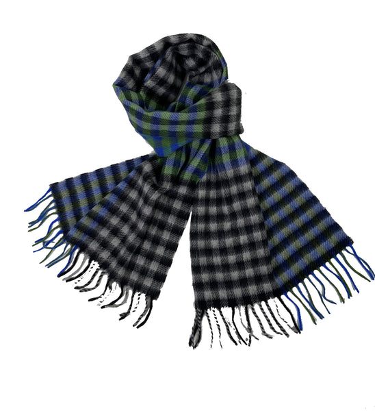 Colorful Check Cashmere Scarf with Fringe