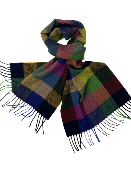 Bright Plaid Cashmere Scarf with Fringe