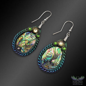 Abalone and Polymer Clay Earrings with 925 Sterling Silver Hooks (Large Teardrop) - wizArts