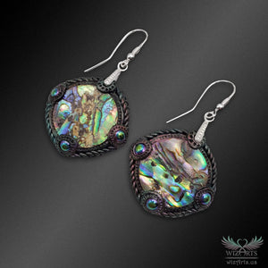 Abalone and Polymer Clay Iridescent Earrings with 925 Sterling Silver Hooks (Round) - wizArts